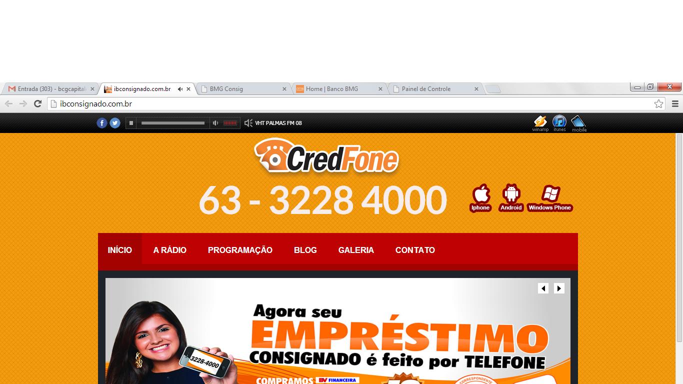 BMG EMPRÉSTIMOS CREDFONE 63 3228 4000 Palmas (Tocantins)
